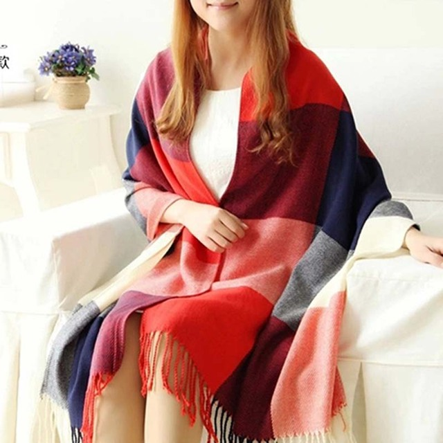Autumn Winter Wool Plaid Cashmere Scarves Wide Lattice Long Shawl