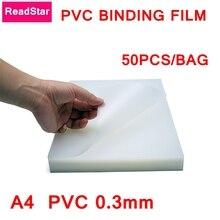 50PCS/LOT PVC Binding film A4 210x297mm Comb binding machine suppliers 0.3mm A4 Transparent Binding covers