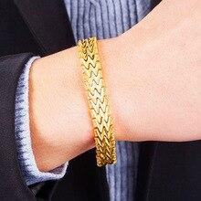 20Cm Geometrische 24K Gold Hoge Kwaliteit Mode Elegant Mannen Armbanden Sieraden Party Anniversary Gift