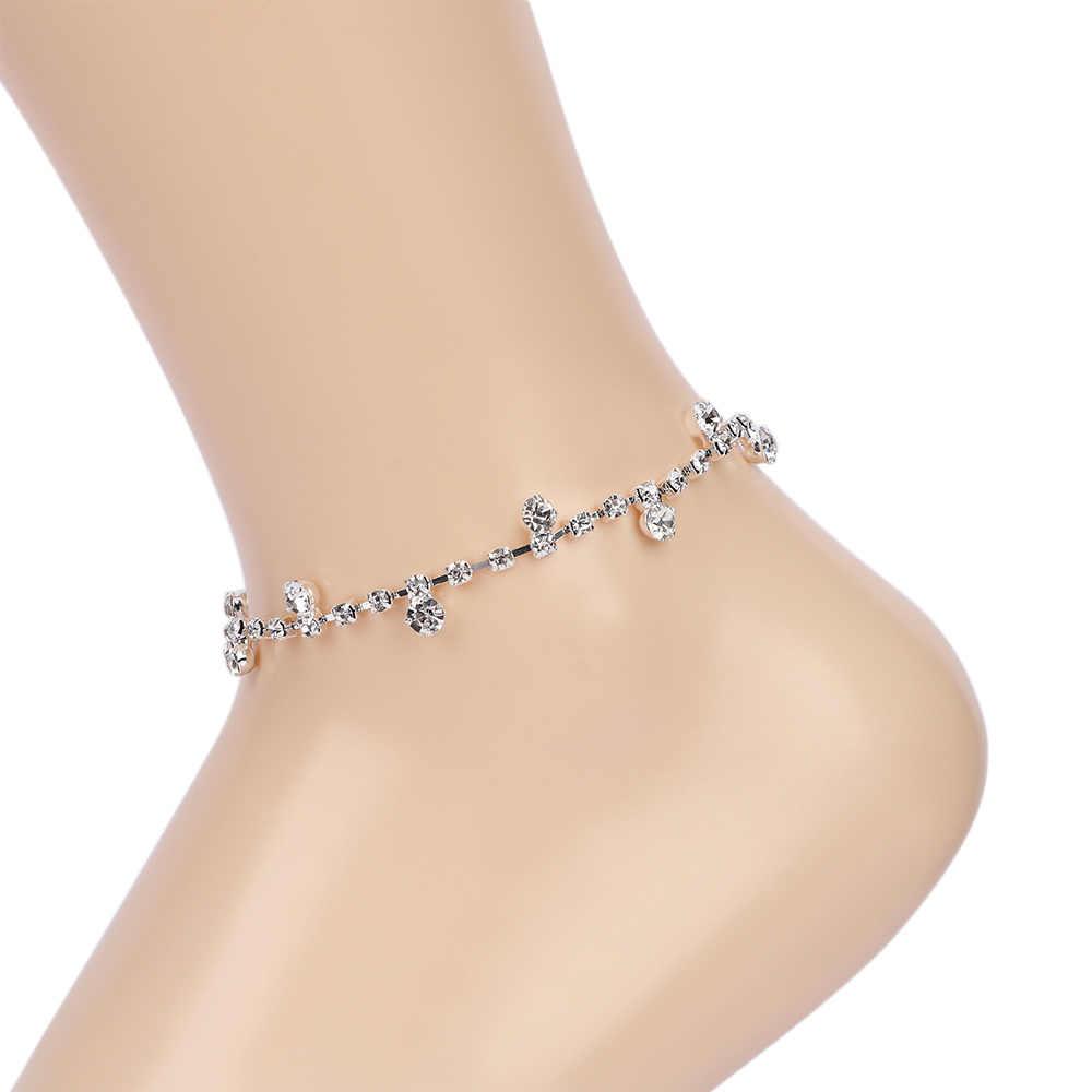 シルバーチェーンアンクレット足に足ブレスレット女性シンプルなスリム調整可能なワイヤー足首夏ビーチジュエリー卸売