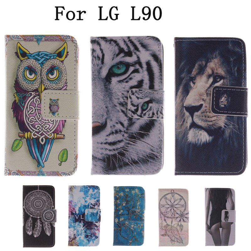 Flip Bags <font><b>phone</b></font> <font><b>case</b></font> PU Leather Cover Protector Skin +Stand &#038; Card Holder for <font><b>LG</b></font> L90 L <font><b>90</b></font> D405 D410 D415 LH