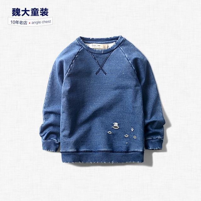 Spring 2017 New Kids Boys Denim sweater casual shirt sleeved shirt sweater baby children