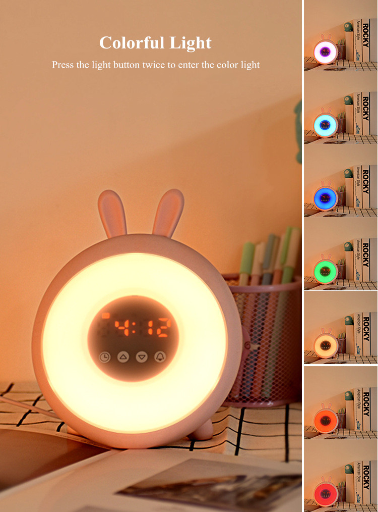 Bunny Alarm Clock with Touch Sensor Colorful LED Night Light Sunrise Sunset Modes Stepless Dimming Rabbit Bedroom Bedside Lamp (9)