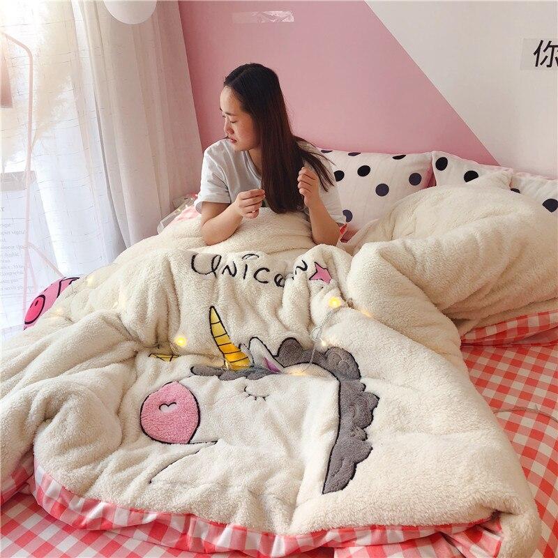 Twin Queen King size Bed set Unicorn Bedding Set Fleece Warm Kids Fitted Bed sheet Duvet
