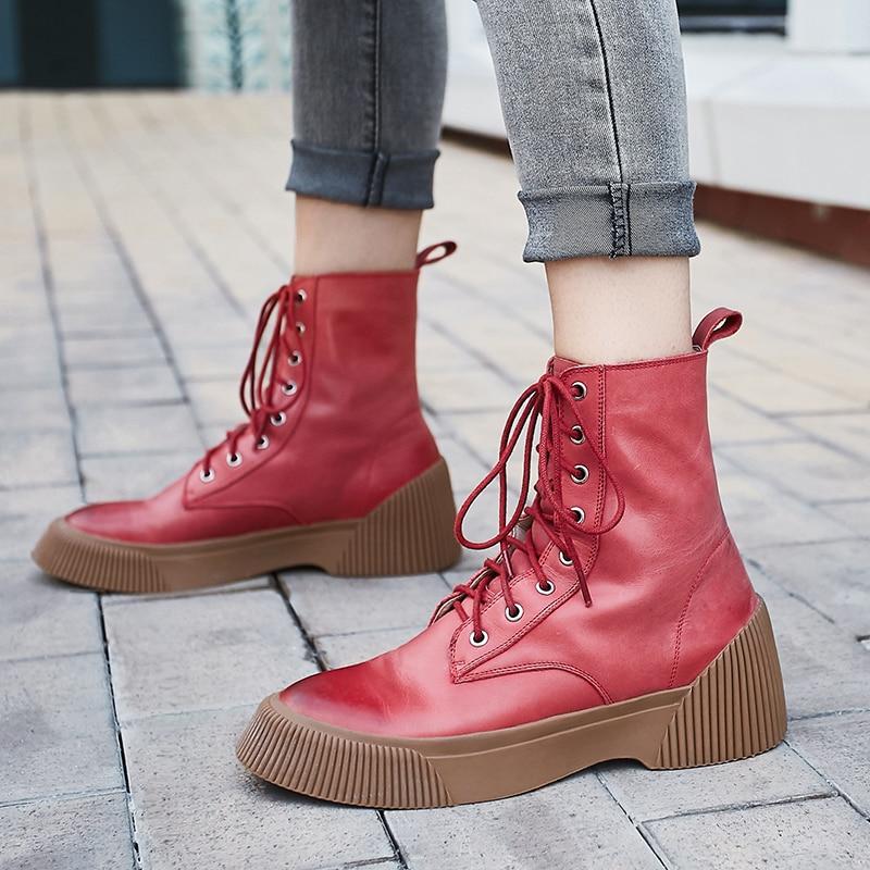 Bimolter 2019 Mulheres Marca de Moda Tornozelo Botas Vermelhas De Salto Alto Botas De Couro Martin Sapatos Sapatos de Festa Mulher Bombas de Dança Básica NB069 - 3