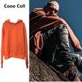 Moda homens inverno justin bieber kanye west orange extra longo manga hoodies hip hop com capuz camisolas oversize cooo coll