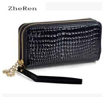 large capacity high quality ladies with long wallets, women wallets, luxury patent artificial leather double zipper day clutch b grande bolsas femininas de couro