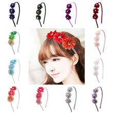 Elegant flower hairband pearl crystal headband fashion wedding engagement seaside headdress ribbon girls bridal hair accessories