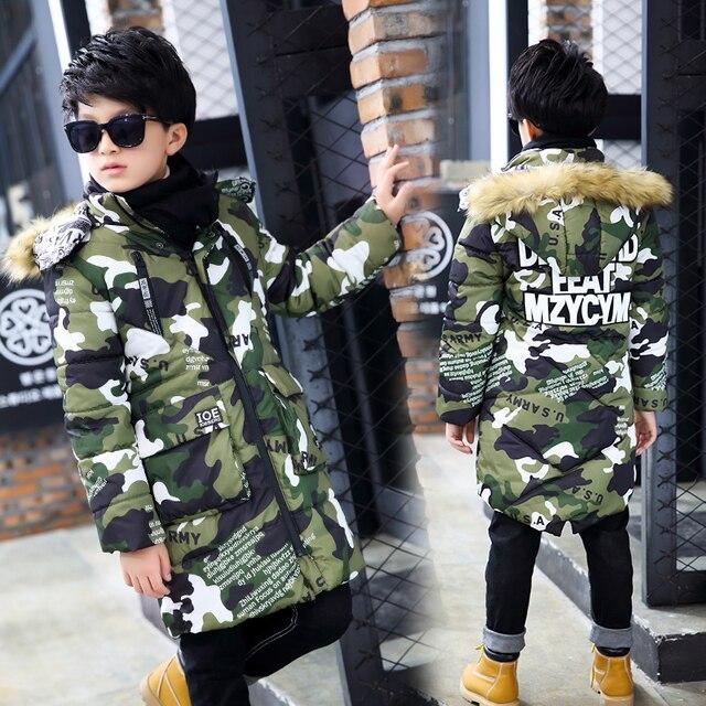 Камуфляжный Детский пуховик 2017 года, длинное плотное зимнее пальто для мальчиков, детские зимние куртки на утином пуху для мальчиков, верхняя одежда с меховым воротником