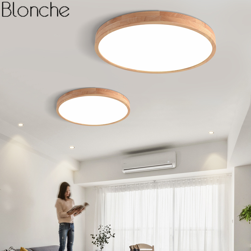 Japanese Ultra-thin 6cm Wood Ceiling Lamp Modern Round LED Ceiling Lights for Living Room Bedroom Indoor Lighting Fixtures Decor japanese home led ceiling lights shoji lamp wood paper washitsu tatami decor living room indoor lantern lamp led lighting