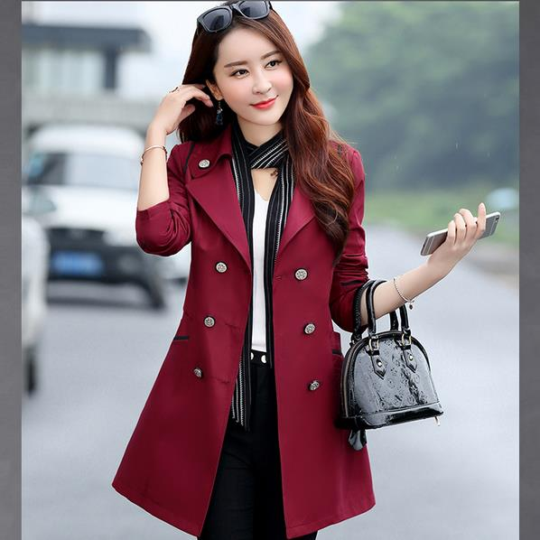 1PC   Trench   Coat For Women Double Breasted Slim Fit Long Spring Coat Elegant Feminino Abrigos Mujer Autumn Outerwear