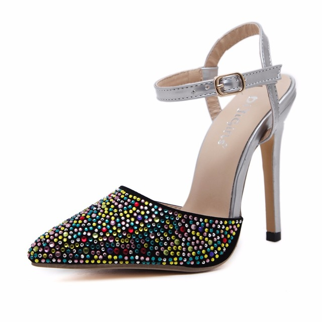 ac77334829d88 New Classics Women Sexy High Heels Pointed Toe Summer Bling Sandals  Stiletto Lady Thin Pumps Party Wedding Glitter Bridal Shoes