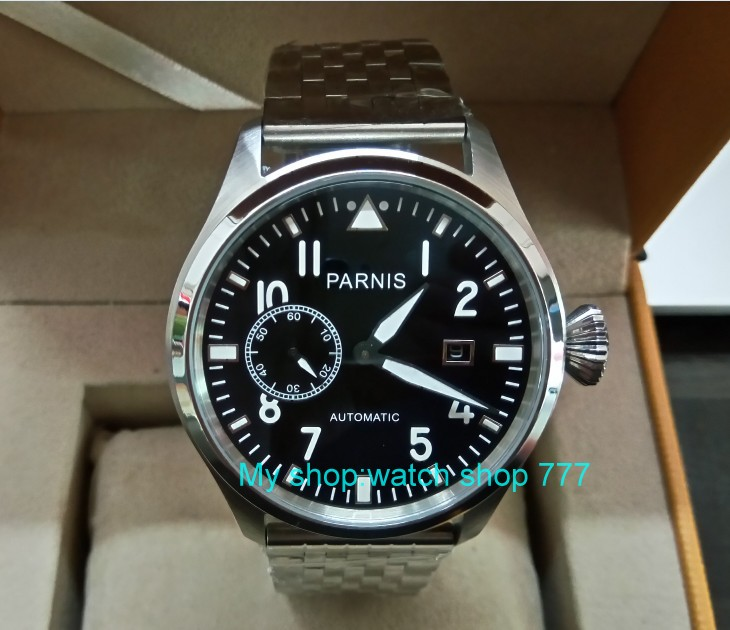 47mm big pilot PARNIS Black dial Automatic Self-Wind movement Auto Date men watches luminous Mechanical watches df132A tevise fashion men automatic mechanical watches self wind black silver stainless steel luminous auto date day wristwatches 8377