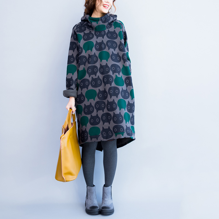 Plus Size Women Hoodies & Sweatshirts Winter Thickening Warm Cotton Fashion Female Cat Print Big Size Casual Turtleneck Dress 11