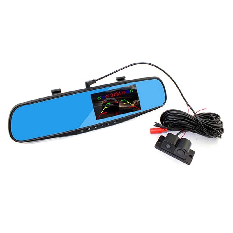 3 in 1 DVR+Camera+Sensor 1080P HD 4.3 LCD screen Rearview Mirror Car Camera DVR Recorder 500Mega Pixels +Parking sensors camera цена