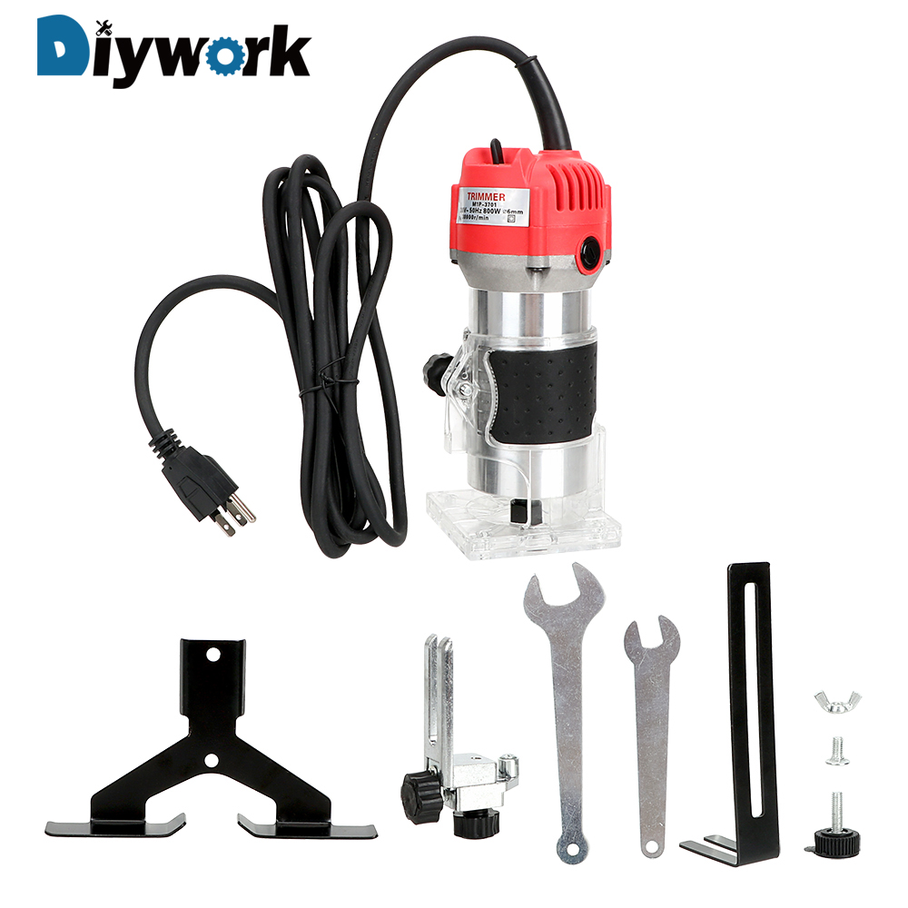 DIYWORK Electric Hand Trimmer Router Tool for Woodworking 220V 30000RPM 800W Wood Edge 1/4'' Wood Router Trimmer Drilling Tool