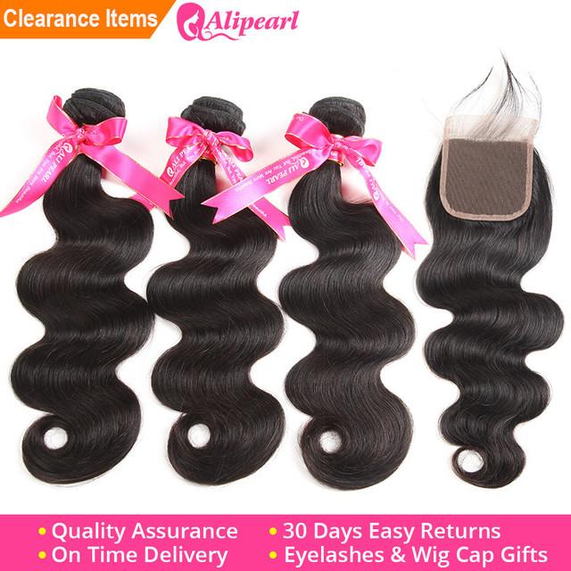 AliPearl Hair Human Hair Bundles With Closure Peruvian Hair Body Wave Bundles With Lace Closure Free Middle Three Part Remy