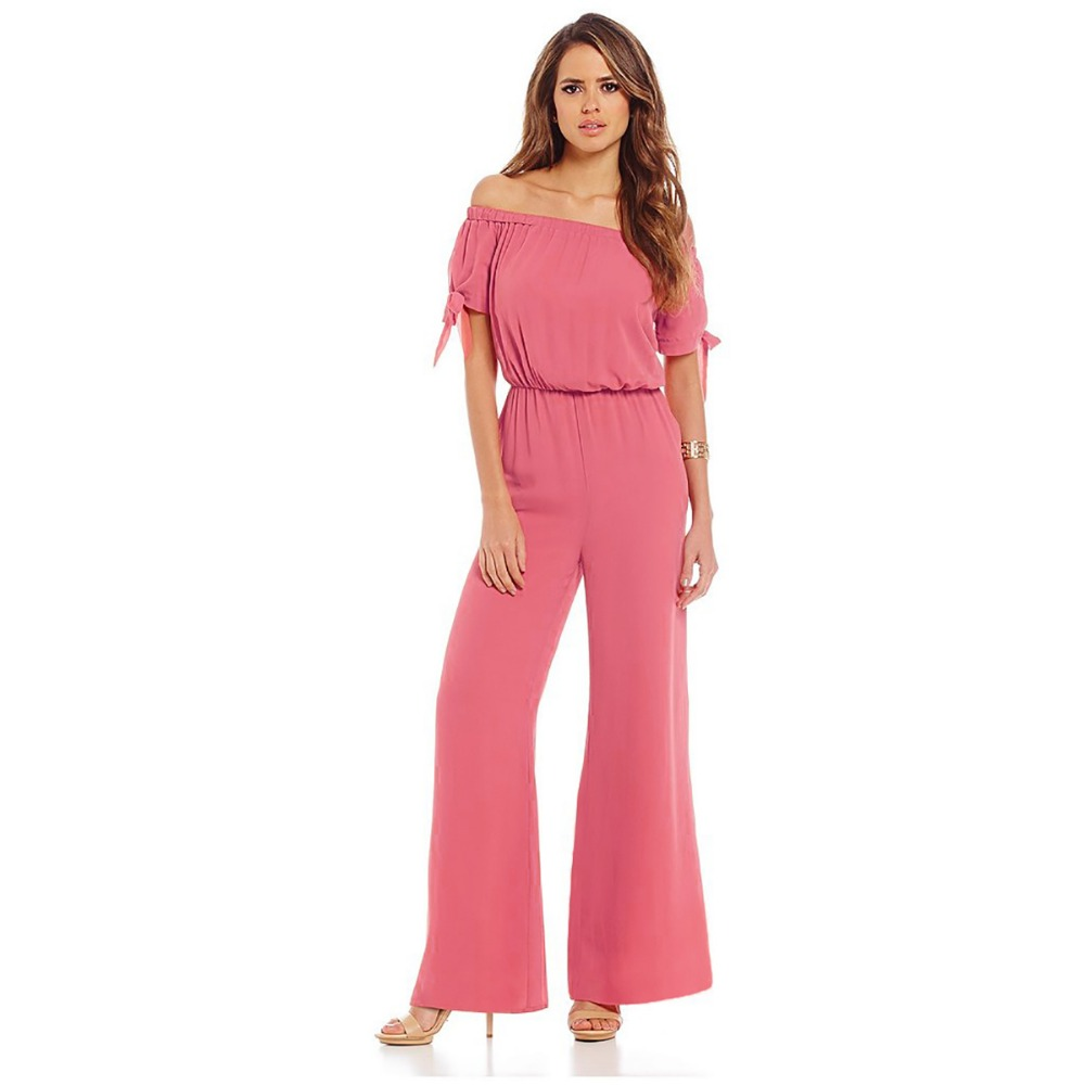 FK1565 Lady Fashion Chiffon Jumpsuits One-piece Overalls Solid Color Lace-up Short Sleeve Off shoulder Elastic Waist Coveralls