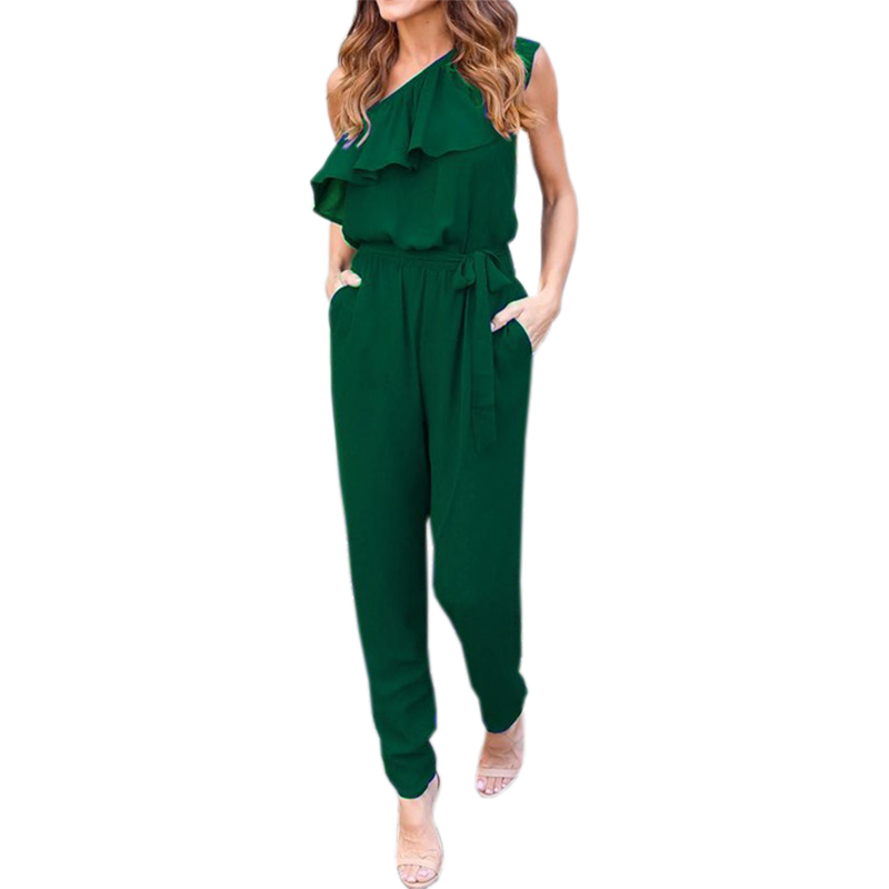 Ruffles Chiffon Jumpsuits Plus Size Overalls Sexy Casual Summer Women One Shoulder Long Playsuits Rompers Womens Jumpsuit GV608