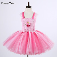 Baby Girls Cartoon Pig Tutu Dress Christmas Halloween Cosplay Costume Pink Kids Princess Dress Girl Birthday