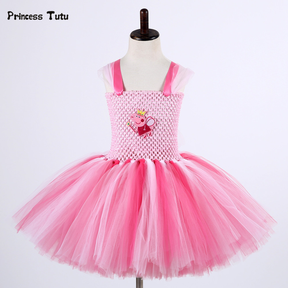 Baby Girls Cartoon Pig Tutu Dress Christmas Halloween Cosplay Costume Pink Kids Princess Dress Girl Birthday Party Tulle Dresses children trolls poppy cosplay tutu dress baby girl birthday party dresses princess christmas halloween costume for kids clothes