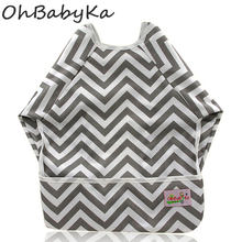 Ohbabyka Baby Bibs Waterproof Newborn Burp Cloths 2018 Brand Baby Slabbers Baby Eating and Feeding Fashion Baby Bib Long Sleeve(China)