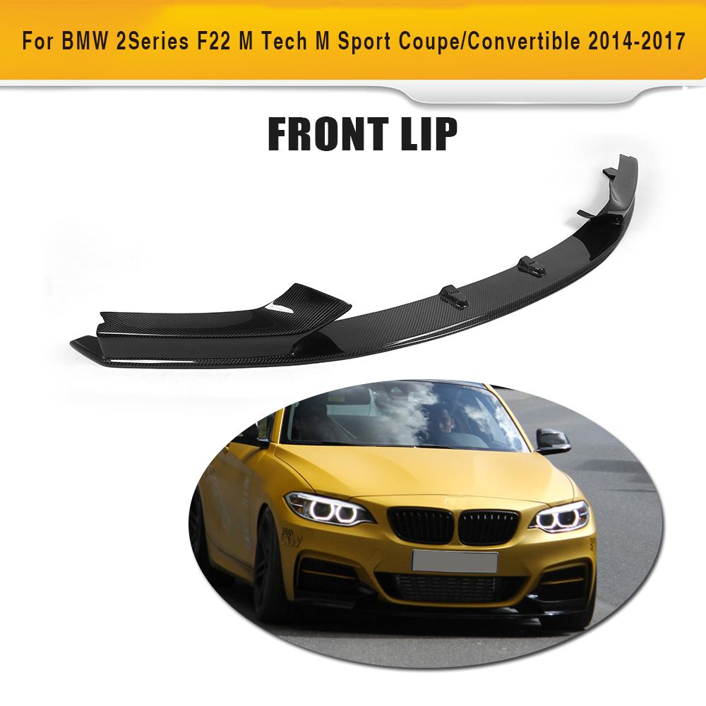 For 2 Series carbon fiber car front bumper lip spoiler for BMW F22 M Sport Coupe 220i 230i 235i 228i 14-17 Convertible image
