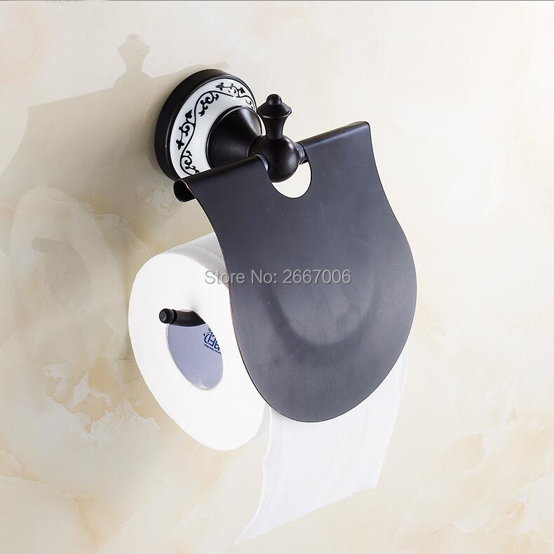 Free Shipping 2 PCS Hotel Black Bronze Ceramic Holder Toilet Roll Paper Holder Wall Mounted Waterproof Copper Tissue Box ZR2317 space aluminum paper holder roll tissue holder hotel works toilet roll paper tissue holder box waterproof design