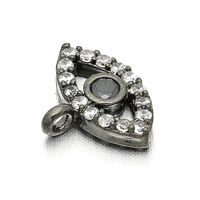 New Black Evil Eye Zircon CZ Jewelry Accessories Connector Pendant Fashion DIY Women Brooch Earrings Jewelry Making Accesorios in Jewelry Findings Components from Jewelry Accessories
