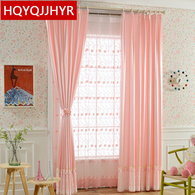 Modern Minimalist Pink Blackout Curtains For Bedroom Pure Color Princess Style  Curtains Kids Room Window Curtain