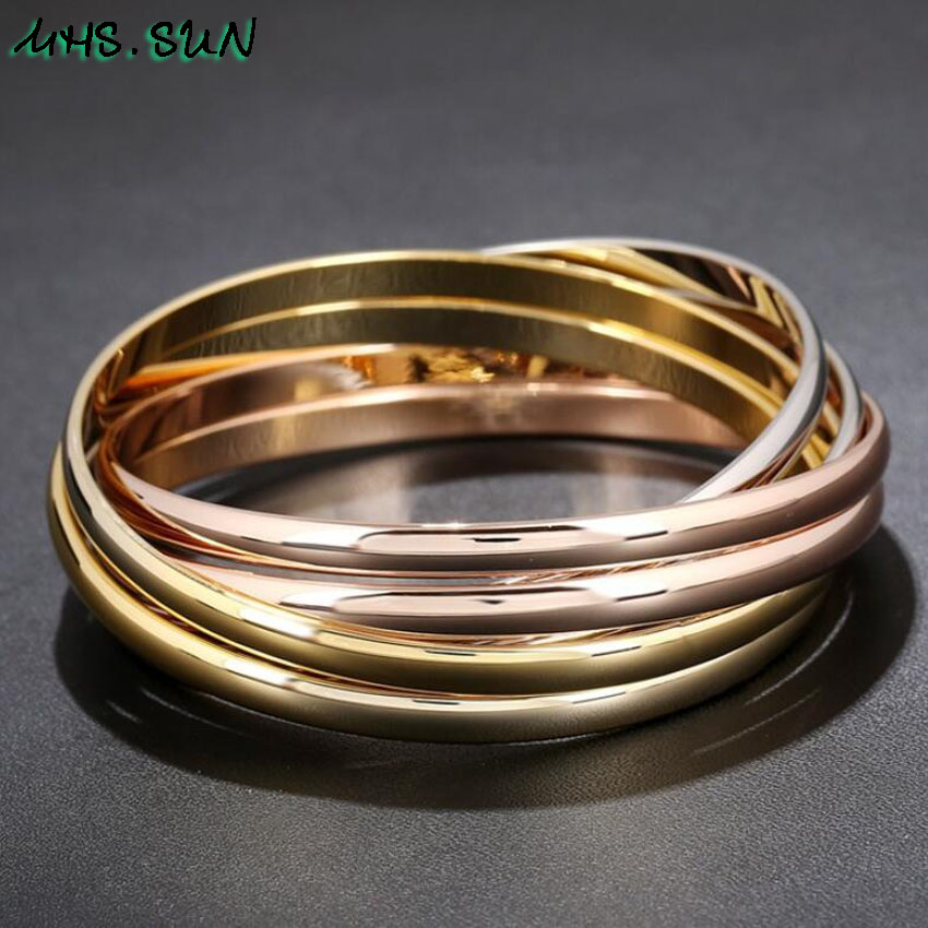 30-3ashion Six-Layers Women Contracted Bangles Bracelets European Style Girls Ladies Bangles All-Match Jewelry Fadeless