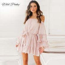 WildPinky Off Shoulder Tassel Ruffles Dress Women White Flare Sleeve Vintage Short Spring Summer Casual Mini Vestido