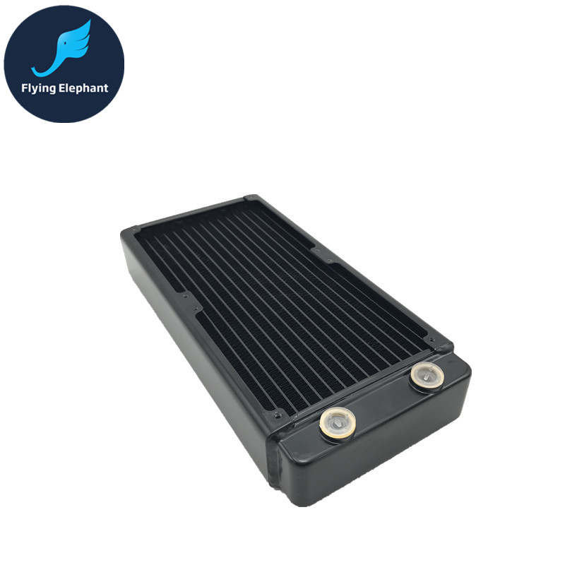 PC Water Cooling Double Row Tube Radiator Liquid Cool Thick Row Black 240 46mm Pure Copper Fins