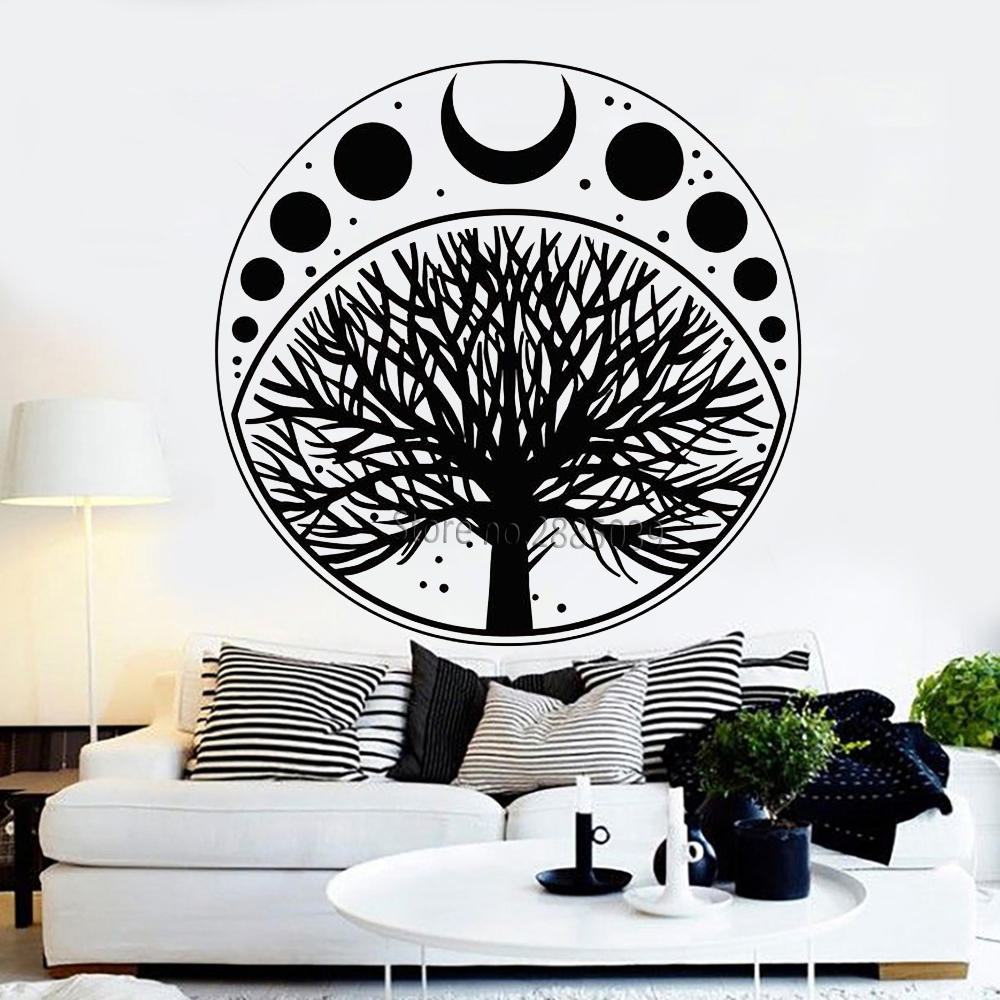 Moon Phases Cycle Tree Of Life Symbol Sticker Vinyl Wall Decal Art