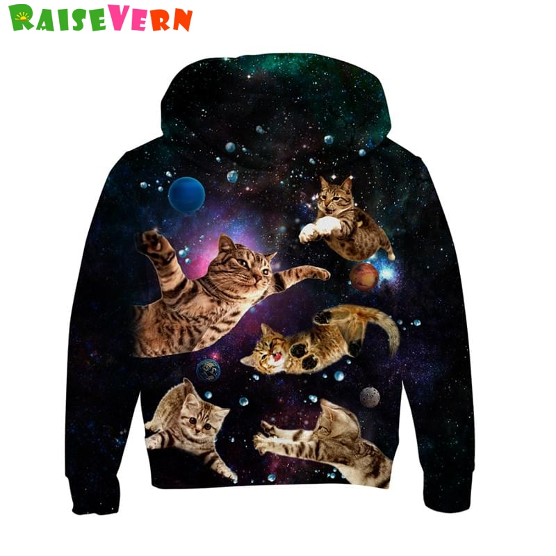 Funny Cat Lightning Thunder 3D Kids Hoodie Space Cats Animal Print Sweatshirts Boys Girls Thin Pullover Hooded Children Clothes