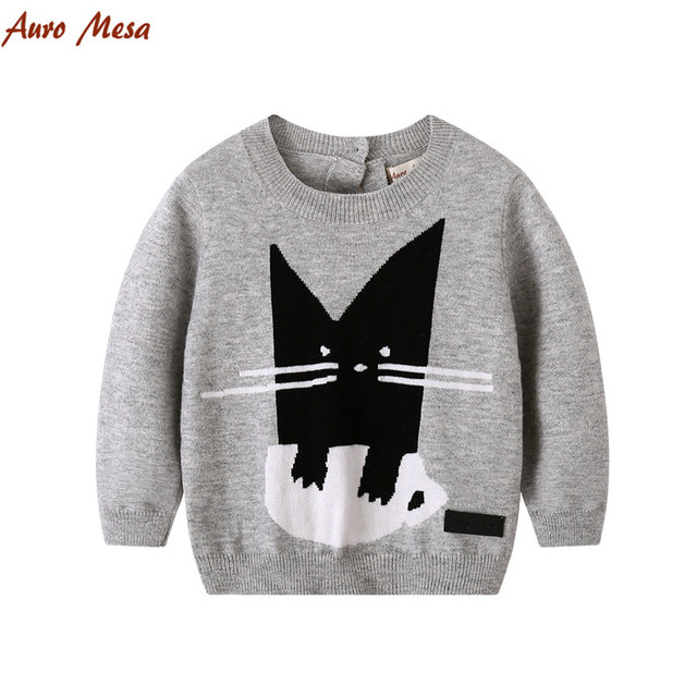 New Spring Kids Knitted Clothes Cat Pattern Wool Sweaters Baby boys Pullover Tops