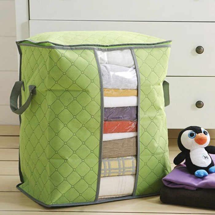 Venta caliente bolsa de almacenamiento caja organizador portátil no tejido debajo de la cama caja de almacenamiento ropa de bambú bolsa de almacenamiento Envío Directo