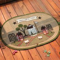 100 Handmade Natural Jute Beautitul Pastoral Style Anti Slip Door Mat Floor Mat For Kitchen Bedroom