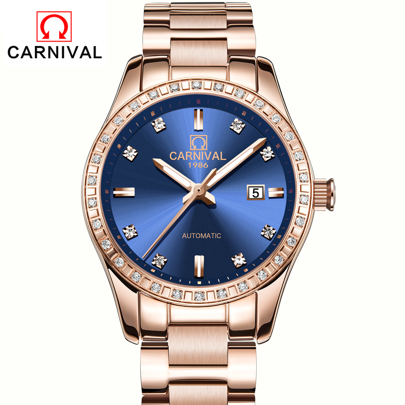 Carnival Womens Automatic Mechanical Watch Ladies Luxury Genuine Leather Hollow Dial Girl Dress Business Clock Relogio Feminino