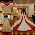 New Arrival Sweetheart Off Shoulder Satin Beaded Wedding Gown Embroidered White Ivory Red Wedding Dresses