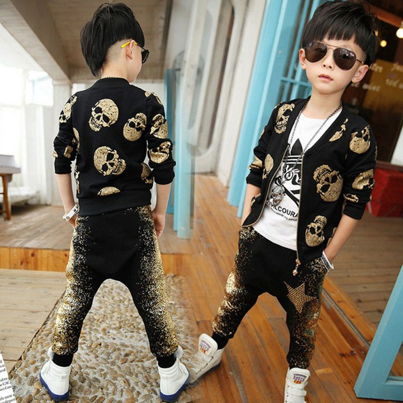 Autumn Boys Clothing Sets Skull Print Kids Sports Sets 3-8Y Children's Streetwear European Style Jacket Pants Outdoor SC587 print bomber jacket with track pants page 3