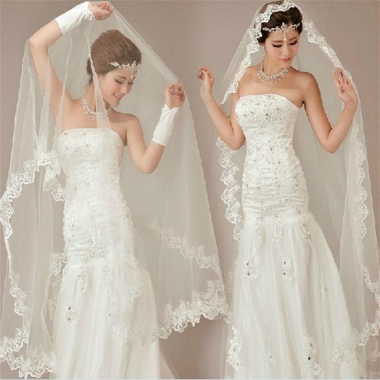 280cm Bride Gauze Tulle Lace Veil Long Tail Wedding Derss Church Marry Photo Accessories Ivory White Mesh Sequin Fabric Decor