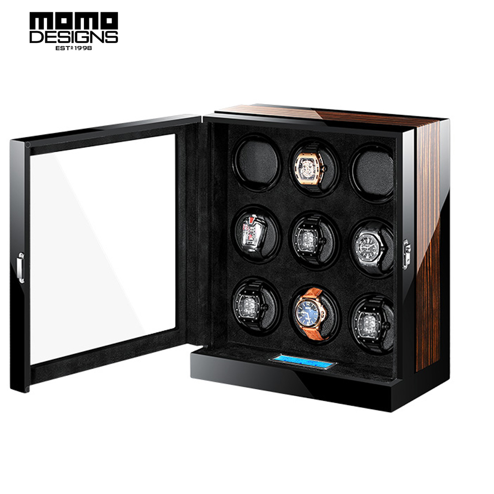 Excellent Automatic Watch Winder Box with JAPAN MABUCHI motor machine storage box LCD touch screen control High end quality ultra luxury 2 3 5 modes german motor watch winder white color wooden black pu leater inside automatic watch winder