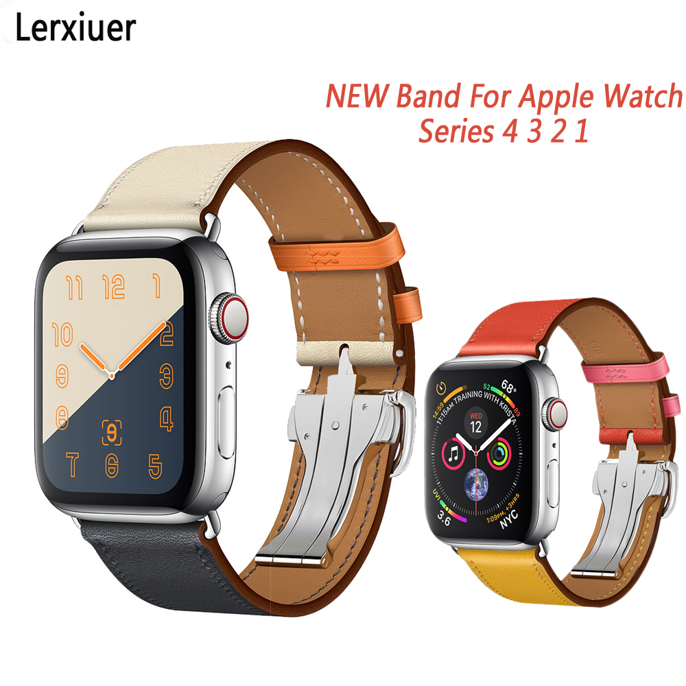 Deployment Buckle Strap For Apple Watch band 42mm 44mm Iwatch band 38mm 40mm series 4 3 2 1 Single Tour Leather Strap BraceletDeployment Buckle Strap For Apple Watch band 42mm 44mm Iwatch band 38mm 40mm series 4 3 2 1 Single Tour Leather Strap Bracelet