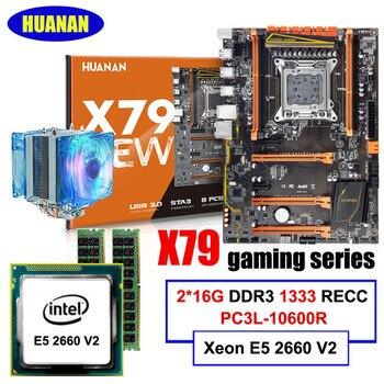 Игровая материнская плата HUANANZHI X79 Deluxe ATX со слотом M.2 SSD, процессор Xeon E5 2660 V2, 10 ядер, кулер ЦП, ОЗУ 32 ГБ, 1866 REG ECC