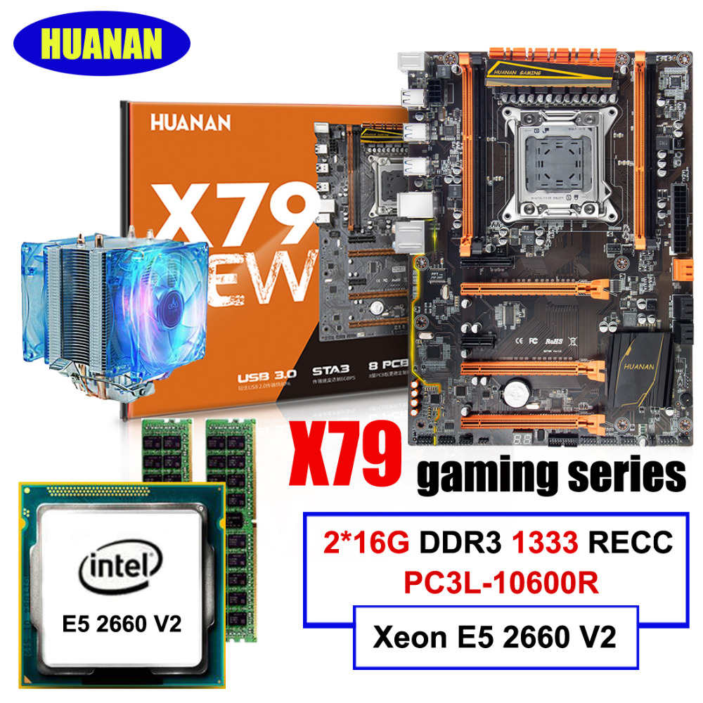 HUANAN deluxe X79 motherboard Xeon E5 2660 V2 RAM 32G(2*16G) DDR3 1333MHz RECC with CPU cooler all tested before shipping huanan v2 49 x79 motherboard with pci e nvme ssd m 2 port cpu xeon e5 2660 c2 ram 16g ddr3 recc support 4 16g memory all tested