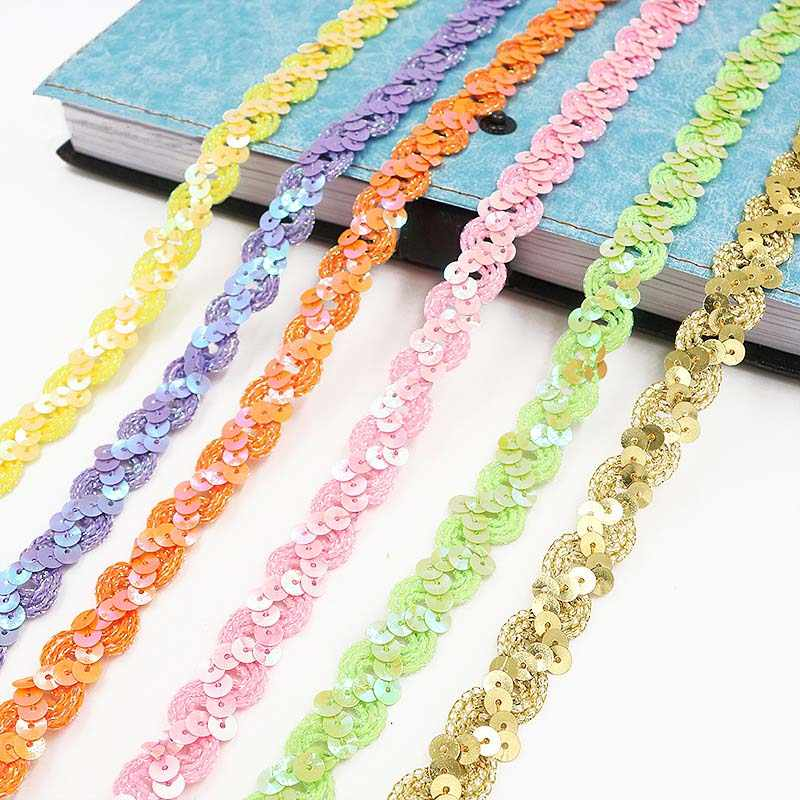 5 m * 15mm Multicolor Pailletten Lace Linten DIY Sparkly Kant Lint Applique Naaien Accessoires Wedding Festival Party Decoratie 8z