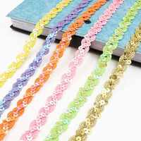 5m*15mm Multicolor Sequins Lace Ribbons DIY Sparkly Lace Ribbon Applique Sewing Accessories Wedding Festival Party Decoration 8z