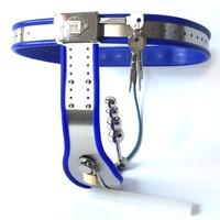 الفولاذ المقاوم للصدأ العفة حزام مع شرجي التوصيل الأزرق سيليكون مثير bdsm عبودية الوثن امرأة جهاز العفة lock