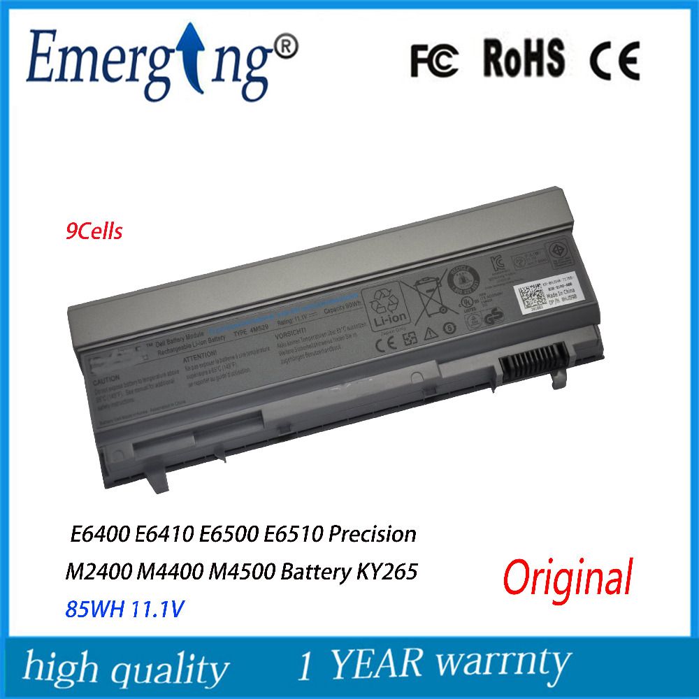 9cells 85WH Original New   Laptop Battery For Dell Latitude E6400 ATG E6500 E6510 PT435 NM633 MP307